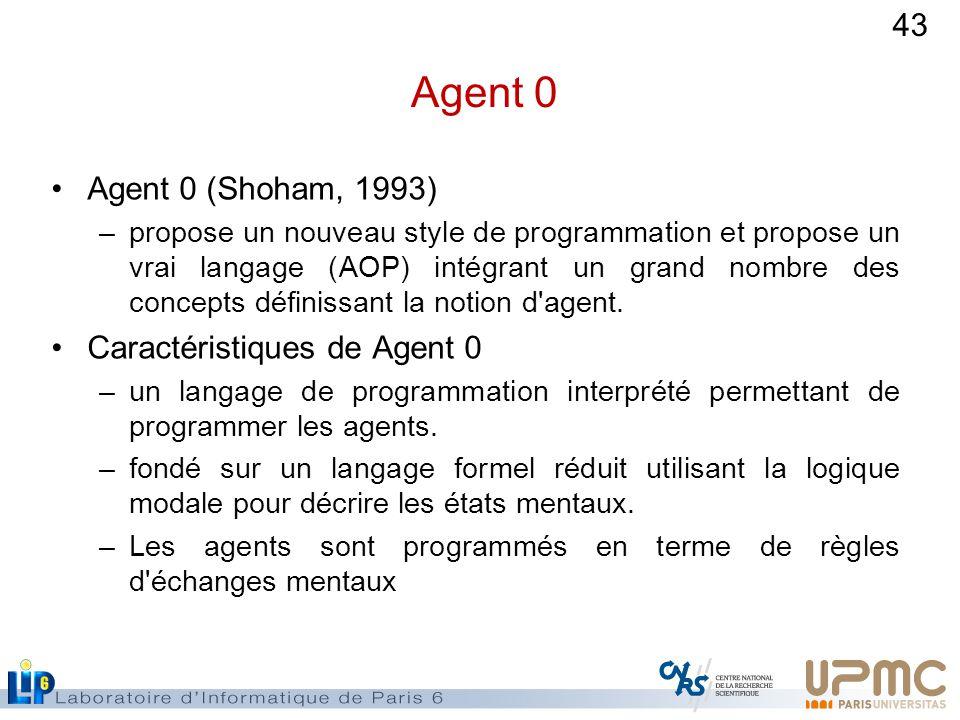 43 Agent 0 Agent 0 (Shoham, 1993) –propose un nouveau style de programmation et propose un vrai langage (AOP) intégrant un grand nombre des concepts définissant la notion d agent.