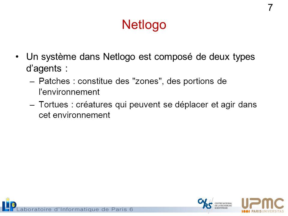 7 Netlogo Un système dans Netlogo est composé de deux types dagents : –Patches : constitue des zones , des portions de l environnement –Tortues : créatures qui peuvent se déplacer et agir dans cet environnement