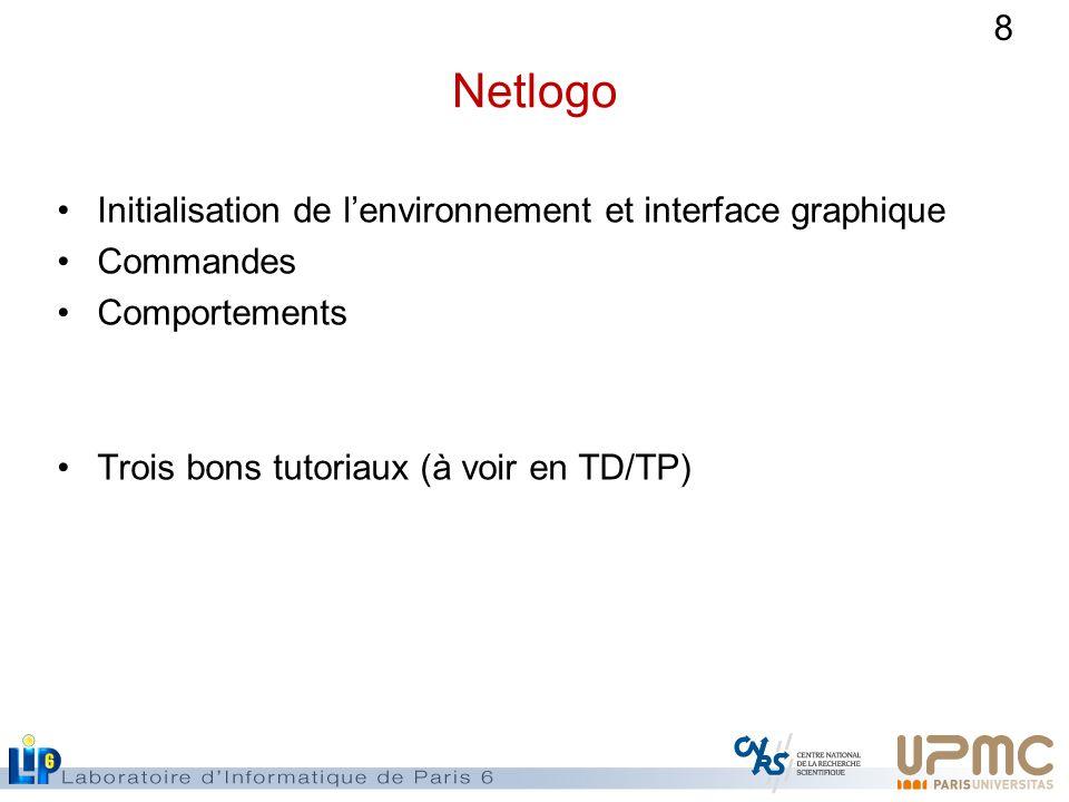 8 Netlogo Initialisation de lenvironnement et interface graphique Commandes Comportements Trois bons tutoriaux (à voir en TD/TP)