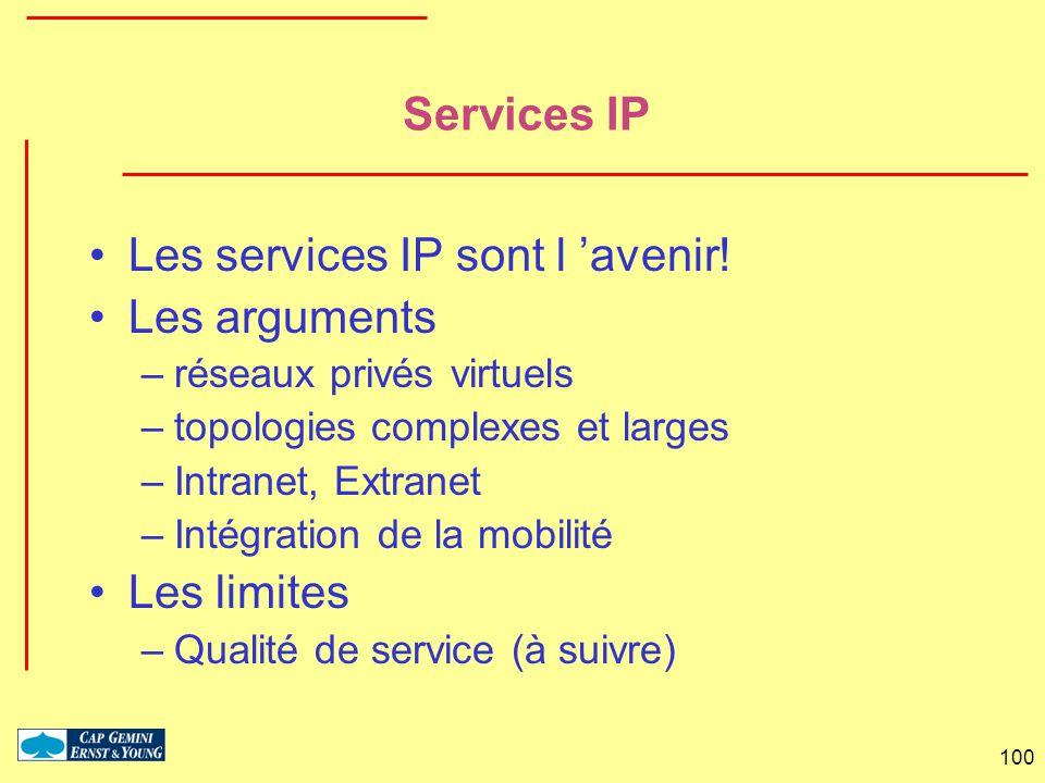 100 Services IP Les services IP sont l avenir! Les arguments –réseaux privés virtuels –topologies complexes et larges –Intranet, Extranet –Intégration