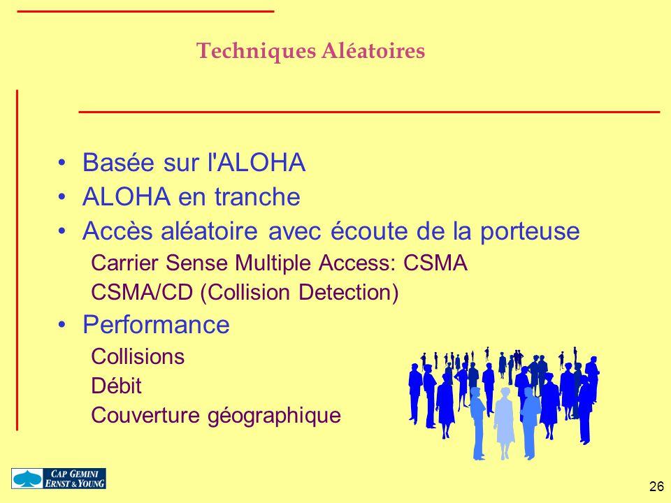26 Techniques Aléatoires Basée sur l'ALOHA ALOHA en tranche Accès aléatoire avec écoute de la porteuse Carrier Sense Multiple Access: CSMA CSMA/CD (Co