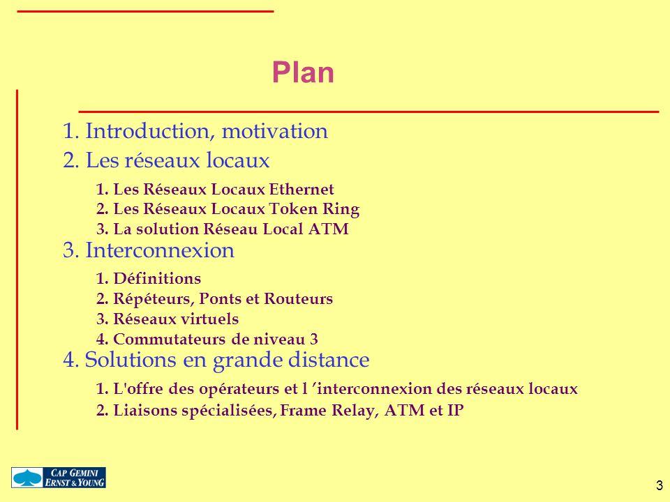 3 Plan 1. Introduction, motivation 2. Les réseaux locaux 1. Les Réseaux Locaux Ethernet 2. Les Réseaux Locaux Token Ring 3. La solution Réseau Local A