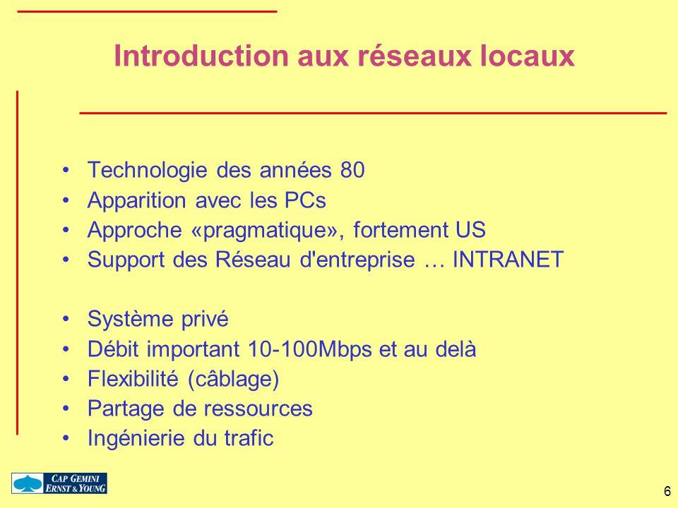 6 Introduction aux réseaux locaux Technologie des années 80 Apparition avec les PCs Approche «pragmatique», fortement US Support des Réseau d'entrepri
