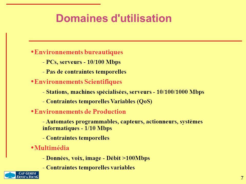 7 Domaines d'utilisation Environnements bureautiques - PCs, serveurs - 10/100 Mbps - Pas de contraintes temporelles Environnements Scientifiques - Sta