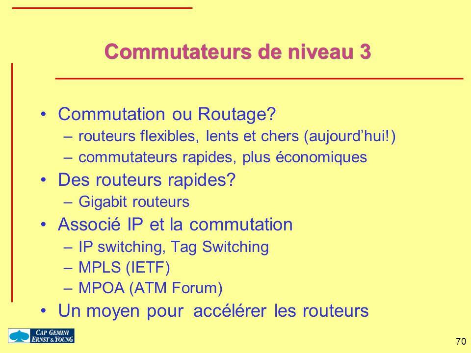 70 Commutateurs de niveau 3 Commutation ou Routage? –routeurs flexibles, lents et chers (aujourdhui!) –commutateurs rapides, plus économiques Des rout