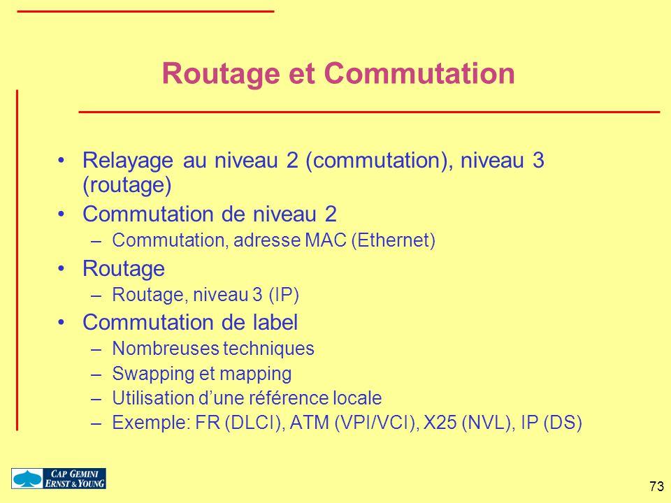 73 Routage et Commutation Relayage au niveau 2 (commutation), niveau 3 (routage) Commutation de niveau 2 –Commutation, adresse MAC (Ethernet) Routage
