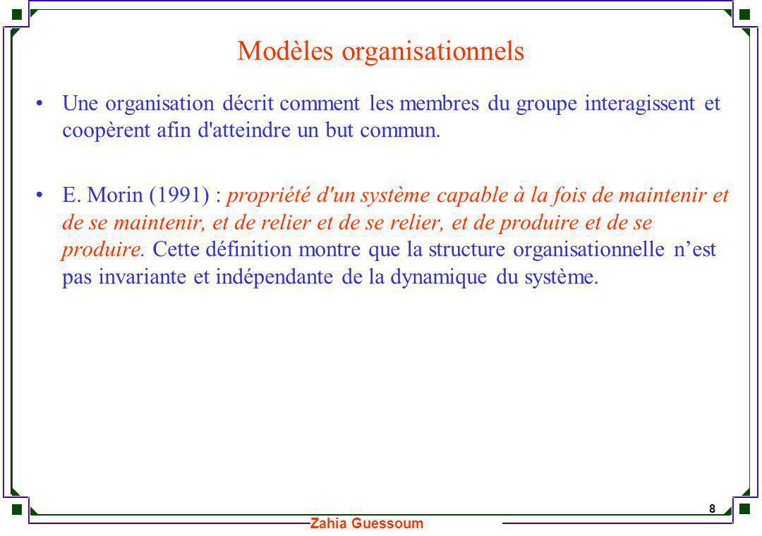 9 Zahia Guessoum Systèmes Multi-agents Niveau micro : agents Niveau macro : structures organisationnelles Agents Organisation Systèmes dInteraction Emergence de fonctionnalités Contraintes et Objectifs sociaux