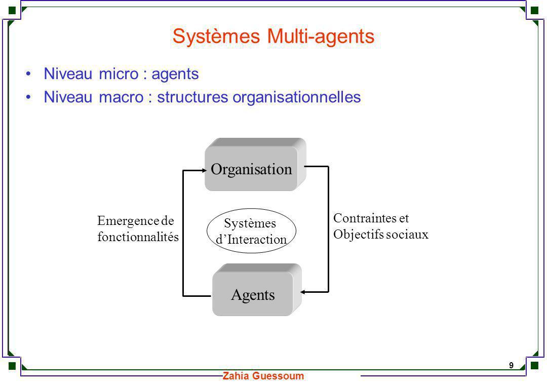 10 Zahia Guessoum Interactions micro-macro Le comportement du système émerge d un ensemble d interactions locales entre agents et/ou entre les agents et un ensemble de structures organisationnelles.
