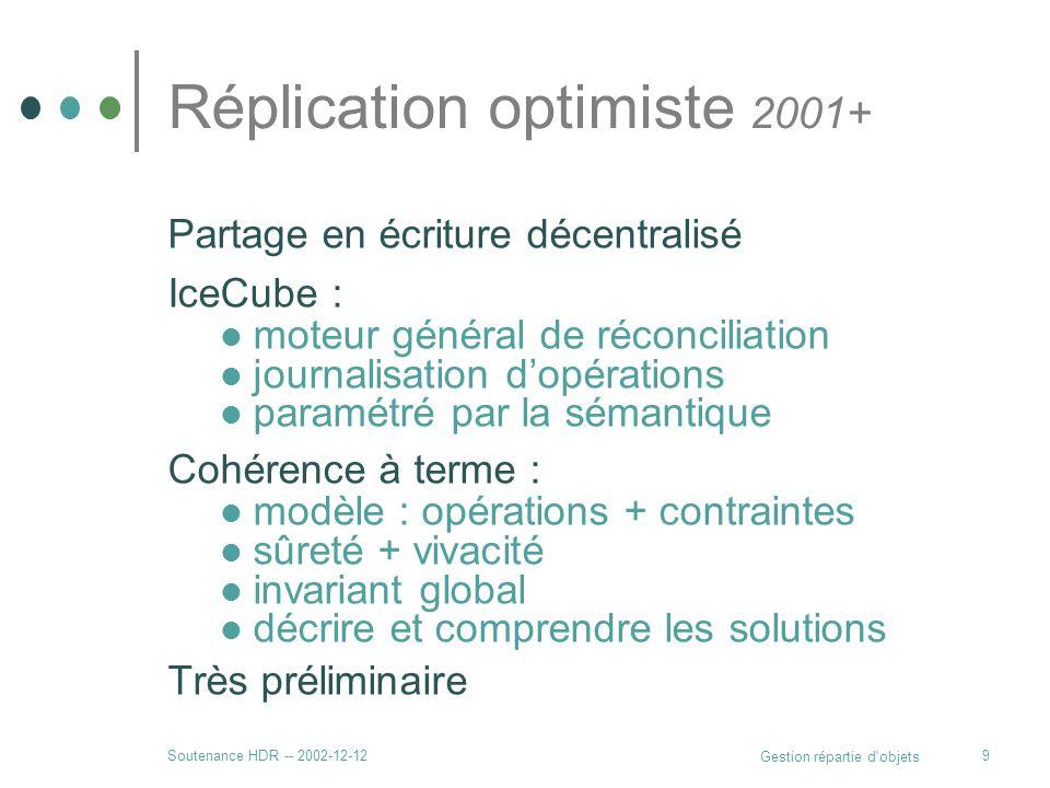 Soutenance HDR -- 2002-12-12 Gestion répartie d'objets 9 Réplication optimiste 2001+ Partage en écriture décentralisé IceCube : moteur général de réco