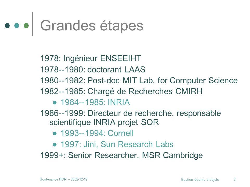 Soutenance HDR -- 2002-12-12 Gestion répartie d objets 2 Grandes étapes 1978: Ingénieur ENSEEIHT 1978--1980: doctorant LAAS 1980--1982: Post-doc MIT Lab.