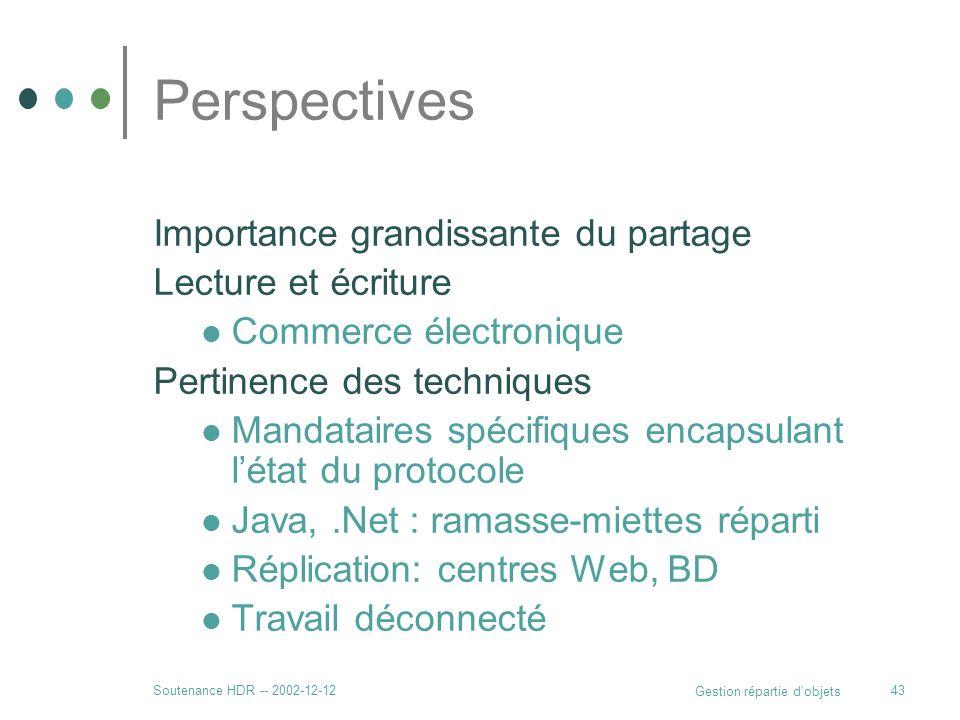 Soutenance HDR -- 2002-12-12 Gestion répartie d'objets 43 Perspectives Importance grandissante du partage Lecture et écriture Commerce électronique Pe