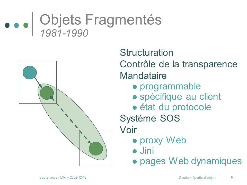 Soutenance HDR -- 2002-12-12 Gestion répartie d objets 6 Objets Fragmentés 1981-1990 Structuration Contrôle de la transparence Mandataire programmable spécifique au client état du protocole Système SOS Voir proxy Web Jini pages Web dynamiques