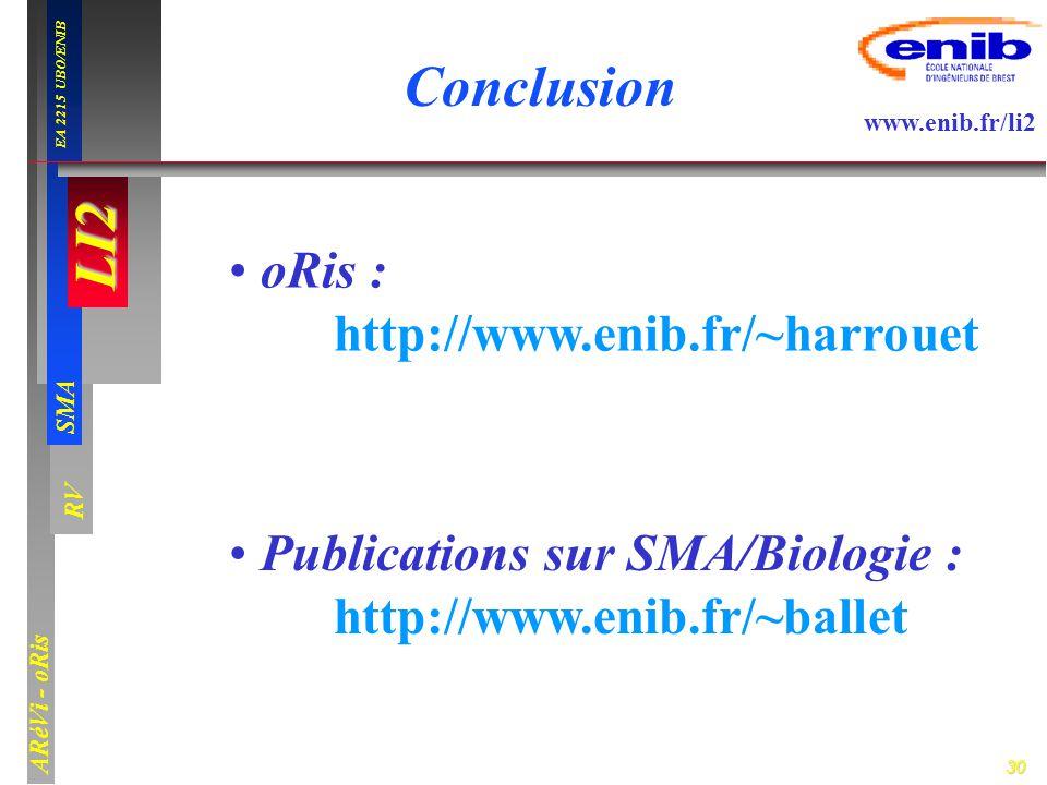 30 LI2 SMA EA 2215 UBO/ENIB ARéVi - oRis www.enib.fr/li2 RV Conclusion oRis : http://www.enib.fr/~harrouet Publications sur SMA/Biologie : http://www.