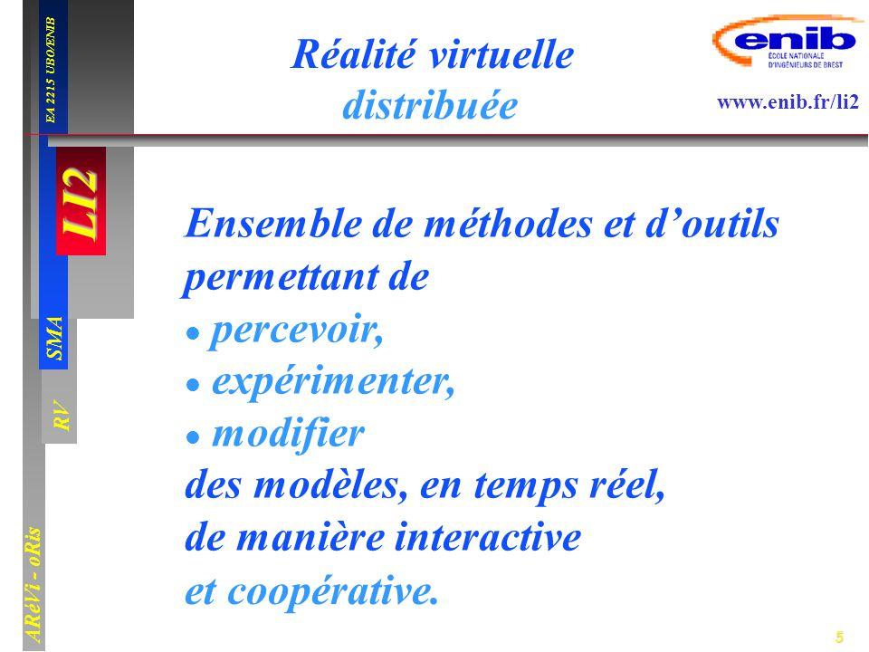 5 LI2 SMA EA 2215 UBO/ENIB ARéVi - oRis www.enib.fr/li2 RV Réalité virtuelle Ensemble de méthodes et doutils permettant de percevoir, expérimenter, mo