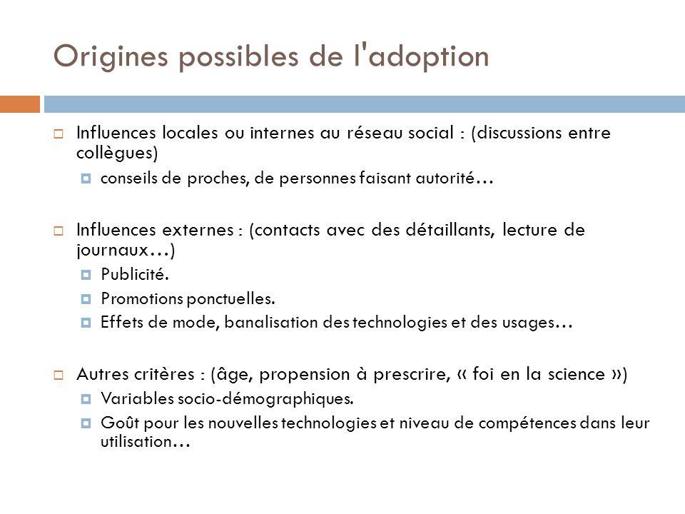 Origines possibles de l'adoption Influences locales ou internes au réseau social : (discussions entre collègues) conseils de proches, de personnes fai