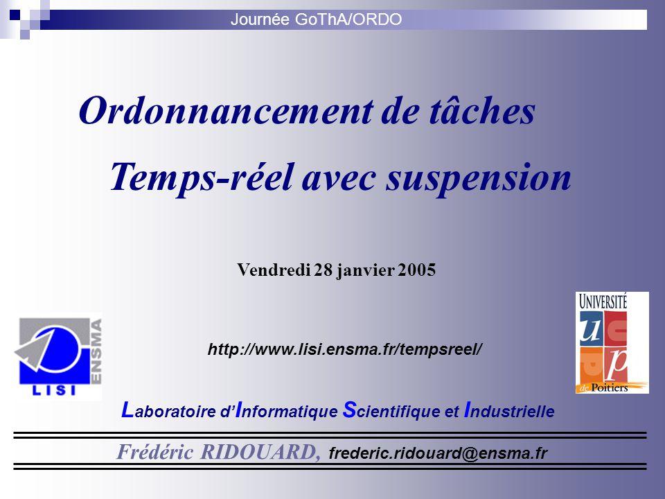 Journée GoThA/ORDO Ordonnancement de tâches Temps-réel avec suspension Frédéric RIDOUARD, frederic.ridouard@ensma.fr http://www.lisi.ensma.fr/tempsree