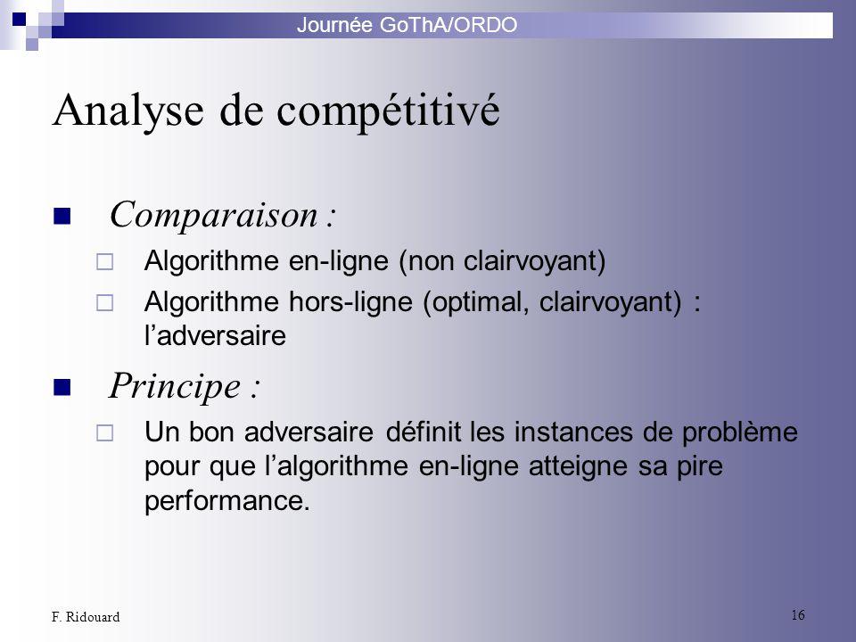 Journée GoThA/ORDO 16 F. Ridouard Analyse de compétitivé Comparaison : Algorithme en-ligne (non clairvoyant) Algorithme hors-ligne (optimal, clairvoya