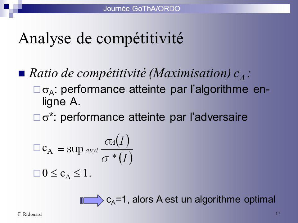 Journée GoThA/ORDO 17 F. Ridouard Ratio de compétitivité (Maximisation) c A : A : performance atteinte par lalgorithme en- ligne A. *: performance att
