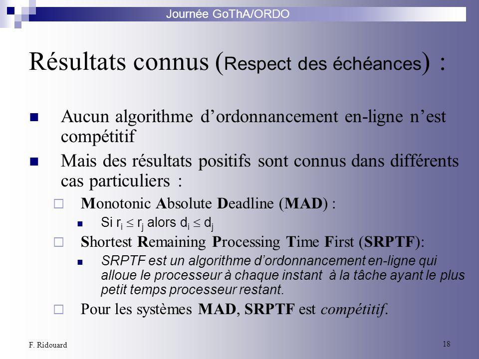 Journée GoThA/ORDO 18 F. Ridouard Résultats connus ( Respect des échéances ) : Aucun algorithme dordonnancement en-ligne nest compétitif Mais des résu