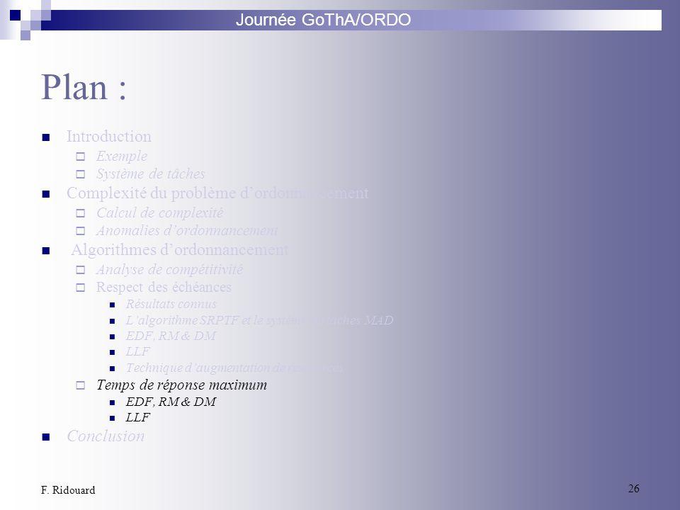 Journée GoThA/ORDO 26 F. Ridouard Plan : Introduction Exemple Système de tâches Complexité du problème dordonnancement Calcul de complexité Anomalies