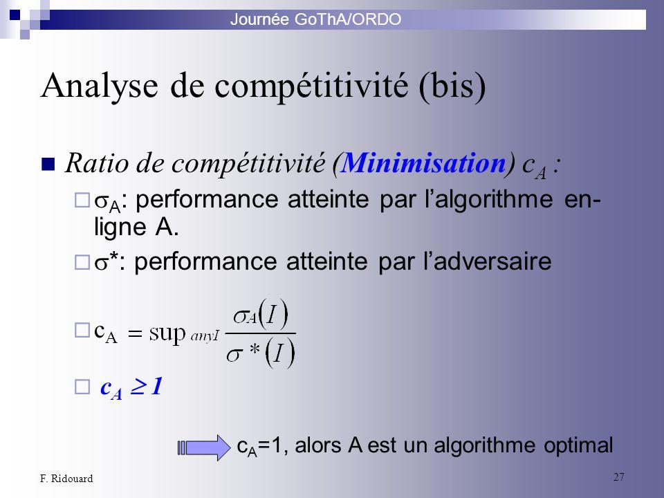 Journée GoThA/ORDO 27 F. Ridouard Ratio de compétitivité (Minimisation) c A : A : performance atteinte par lalgorithme en- ligne A. *: performance att