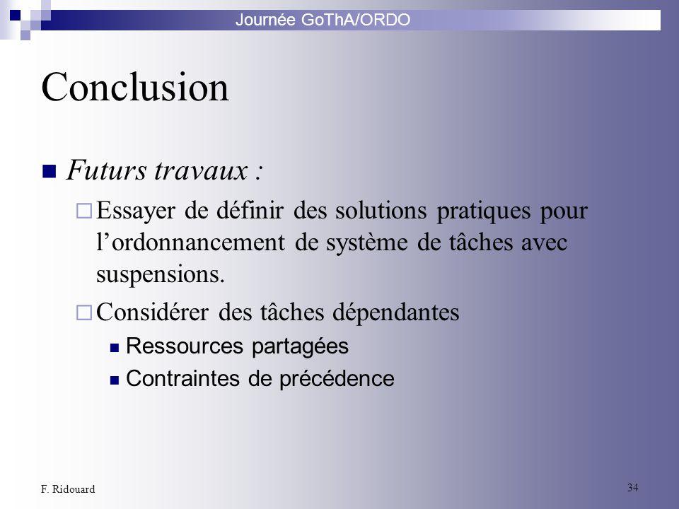 Journée GoThA/ORDO 34 F. Ridouard Conclusion Futurs travaux : Essayer de définir des solutions pratiques pour lordonnancement de système de tâches ave