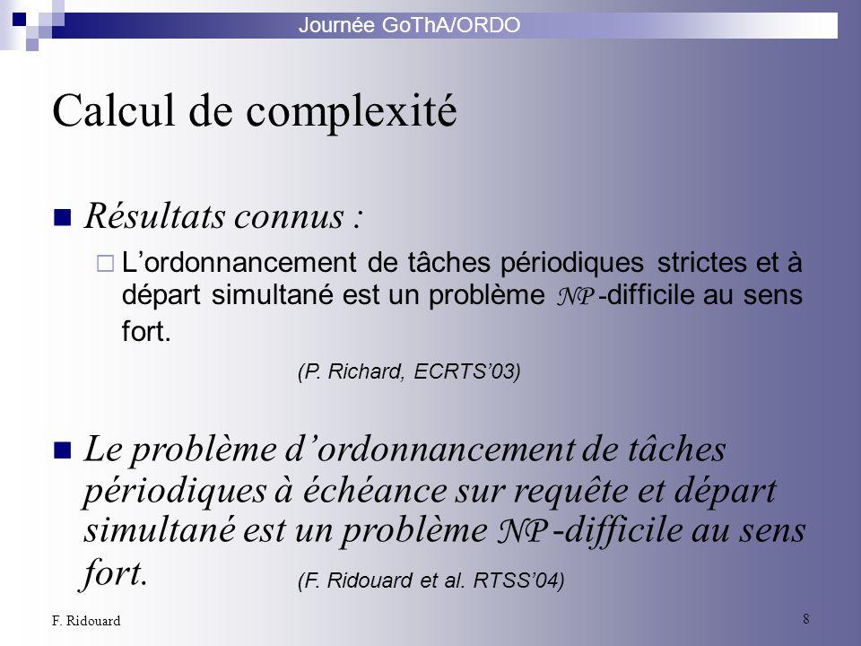 Journée GoThA/ORDO 8 F. Ridouard Calcul de complexité Résultats connus : Lordonnancement de tâches périodiques strictes et à départ simultané est un p