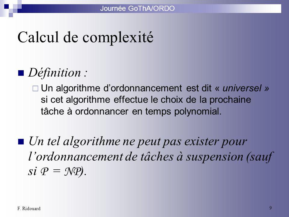 Journée GoThA/ORDO 9 F. Ridouard Calcul de complexité Définition : Un algorithme dordonnancement est dit « universel » si cet algorithme effectue le c