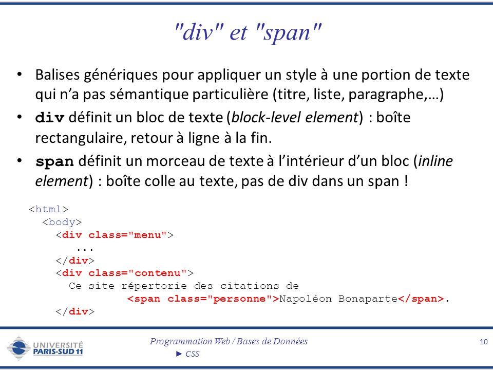 Programmation Web / Bases de Données CSS