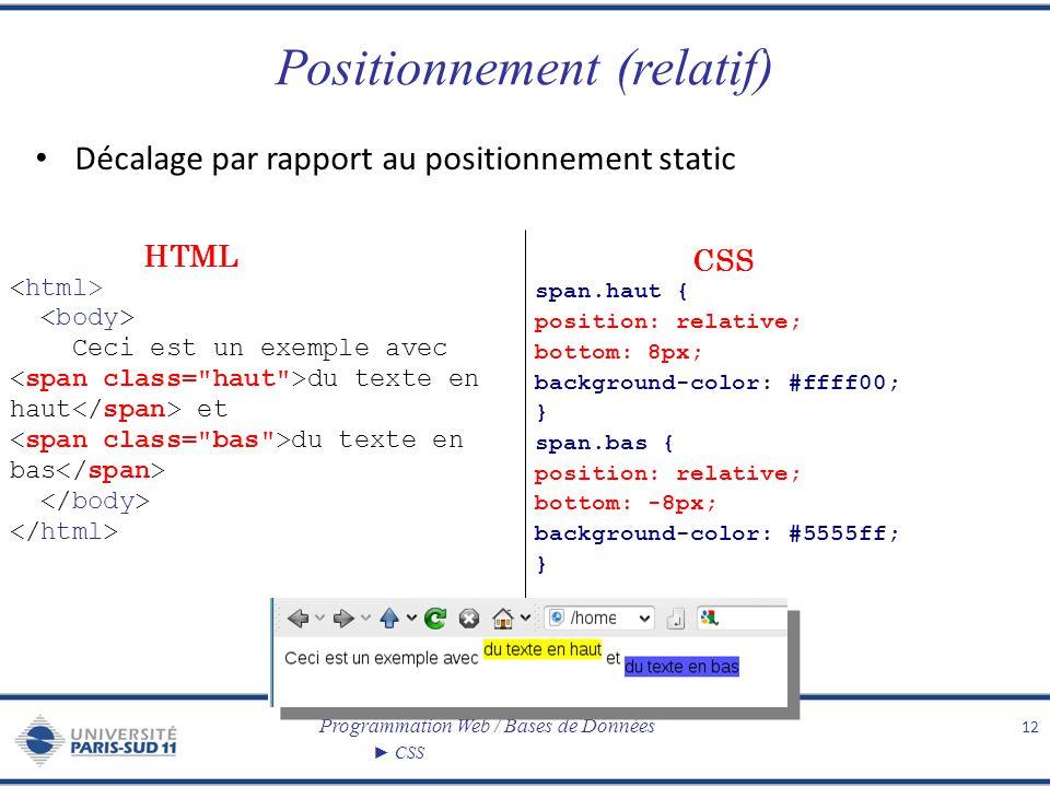 Programmation Web / Bases de Données CSS Positionnement (relatif) Décalage par rapport au positionnement static 12 Ceci est un exemple avec du texte e