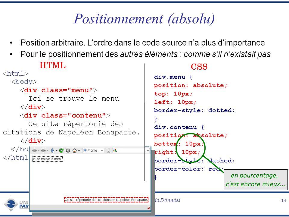 Programmation Web / Bases de Données CSS Positionnement (absolu) Position arbitraire. Lordre dans le code source na plus dimportance Pour le positionn