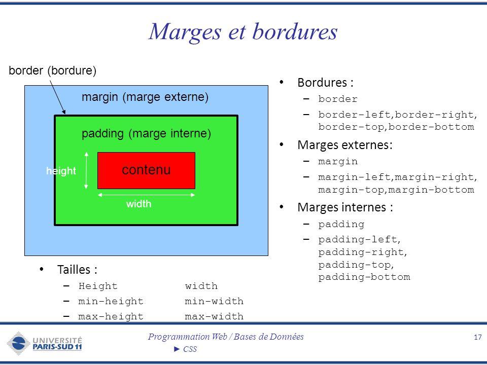 Programmation Web / Bases de Données CSS Marges et bordures 17 contenu padding (marge interne) margin (marge externe) border (bordure) Bordures : – bo