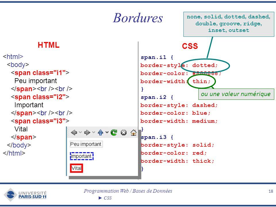 Programmation Web / Bases de Données CSS Bordures 18 Peu important Important Vital span.i1 { border-style: dotted; border-color: #888888; border-width