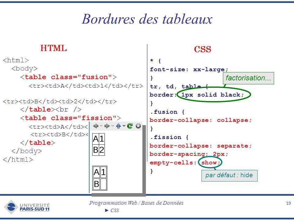 Programmation Web / Bases de Données CSS Bordures des tableaux 19 A 1 B 2 A 1 B * { font-size: xx-large; } tr, td, table { border: 1px solid black; }.