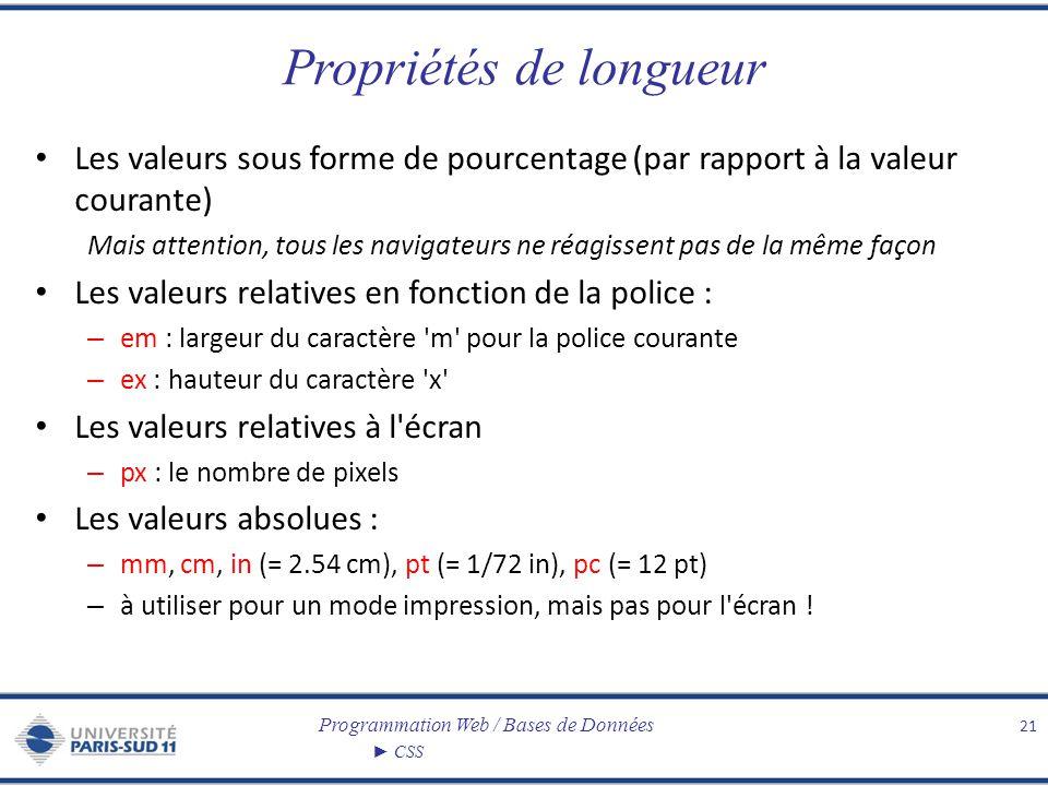 Programmation Web / Bases de Données CSS Propriétés de longueur Les valeurs sous forme de pourcentage (par rapport à la valeur courante) Mais attentio