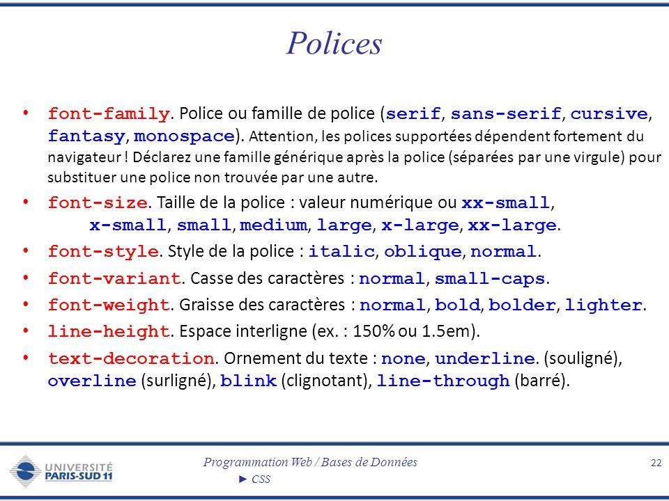 Programmation Web / Bases de Données CSS Polices font-family. Police ou famille de police ( serif, sans-serif, cursive, fantasy, monospace ). Attentio