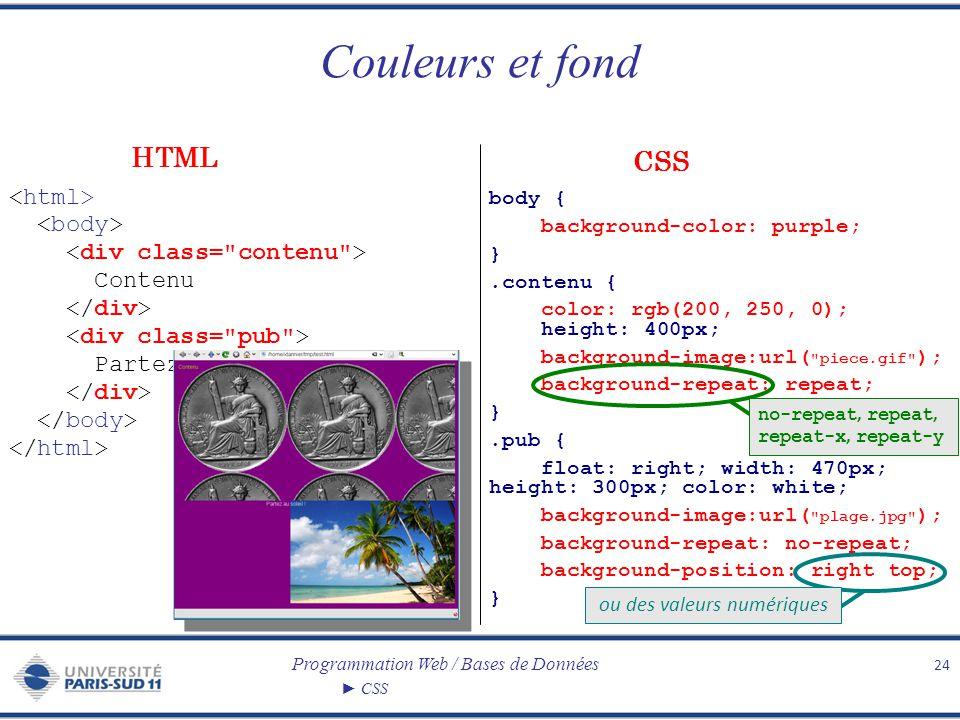 Programmation Web / Bases de Données CSS Couleurs et fond 24 Contenu Partez au soleil ! body { background-color: purple; }.contenu { color: rgb(200, 2