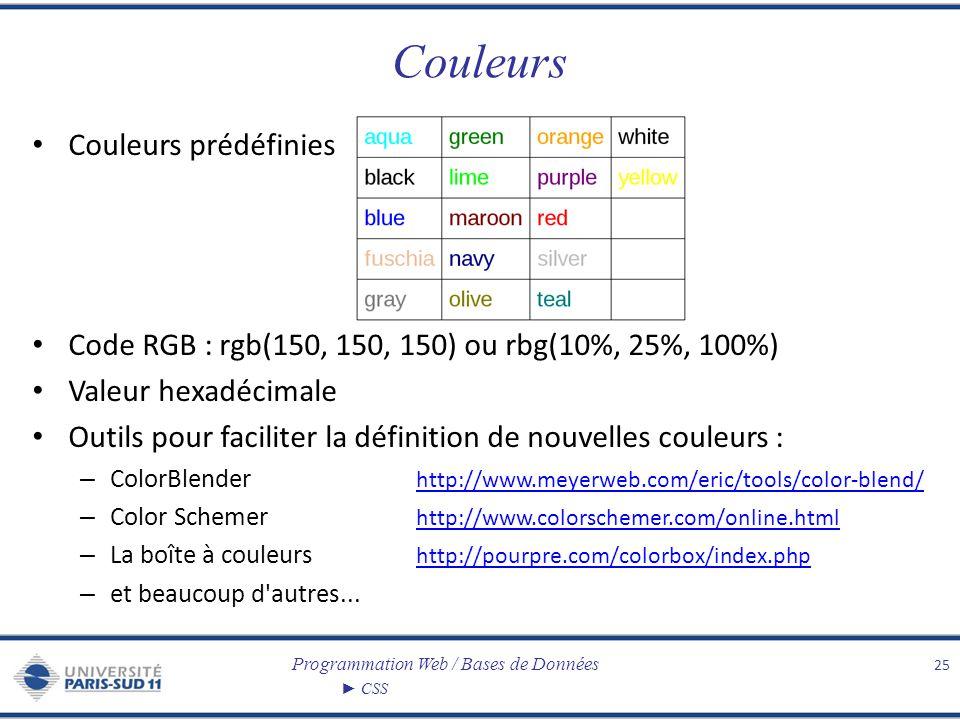 Programmation Web / Bases de Données CSS Couleurs Couleurs prédéfinies Code RGB : rgb(150, 150, 150) ou rbg(10%, 25%, 100%) Valeur hexadécimale Outils