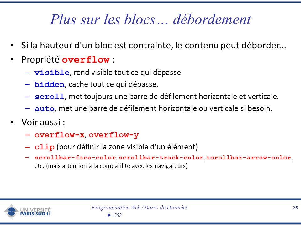 Programmation Web / Bases de Données CSS Plus sur les blocs… débordement Si la hauteur d'un bloc est contrainte, le contenu peut déborder... Propriété