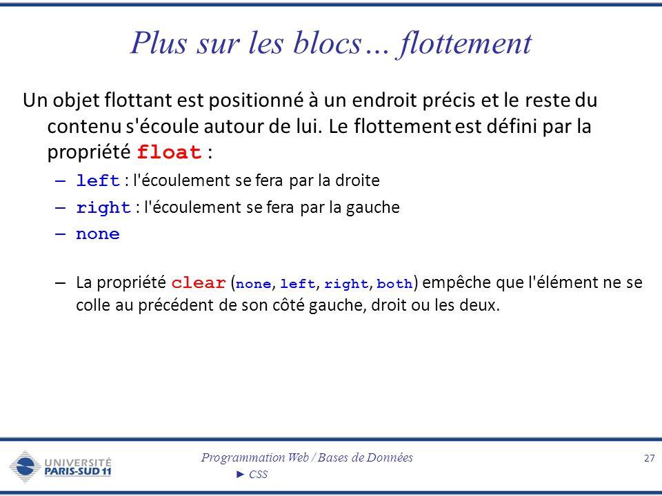 Programmation Web / Bases de Données CSS Plus sur les blocs… flottement Un objet flottant est positionné à un endroit précis et le reste du contenu s'