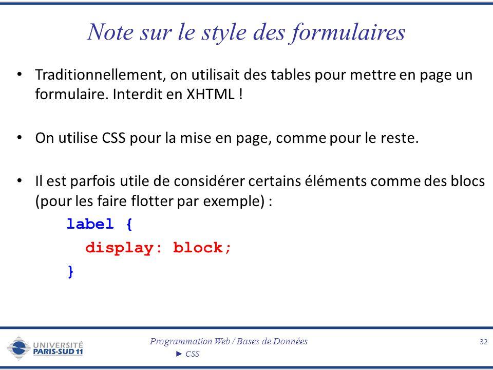 Programmation Web / Bases de Données CSS Note sur le style des formulaires Traditionnellement, on utilisait des tables pour mettre en page un formulai