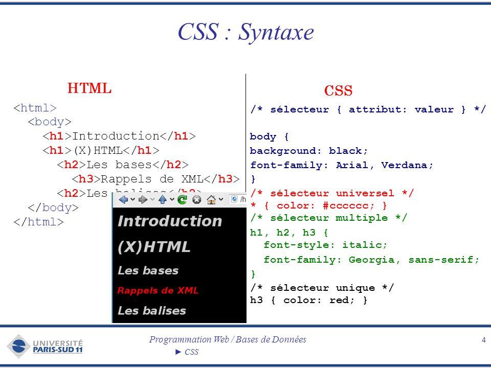 Programmation Web / Bases de Données CSS Couleurs Couleurs prédéfinies Code RGB : rgb(150, 150, 150) ou rbg(10%, 25%, 100%) Valeur hexadécimale Outils pour faciliter la définition de nouvelles couleurs : – ColorBlender http://www.meyerweb.com/eric/tools/color-blend/ http://www.meyerweb.com/eric/tools/color-blend/ – Color Schemer http://www.colorschemer.com/online.html http://www.colorschemer.com/online.html – La boîte à couleurs http://pourpre.com/colorbox/index.php http://pourpre.com/colorbox/index.php – et beaucoup d autres...
