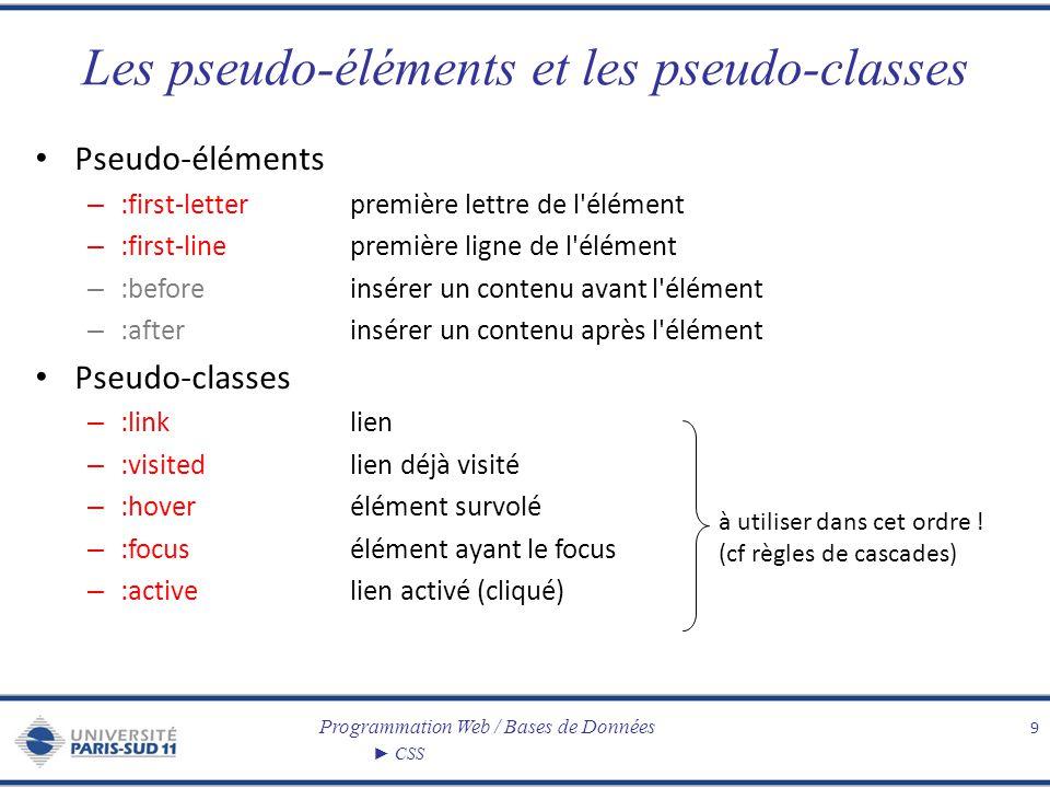 Programmation Web / Bases de Données CSS Les pseudo-éléments et les pseudo-classes Pseudo-éléments – :first-letterpremière lettre de l'élément – :firs