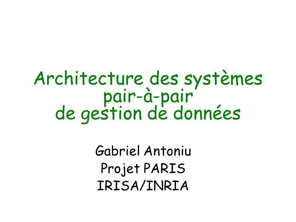 Architecture des systèmes pair-à-pair de gestion de données Gabriel Antoniu Projet PARIS IRISA/INRIA