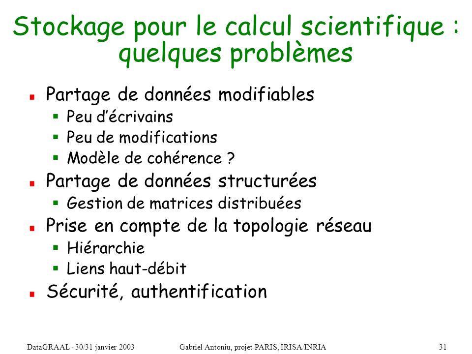 31DataGRAAL - 30/31 janvier 2003Gabriel Antoniu, projet PARIS, IRISA/INRIA Stockage pour le calcul scientifique : quelques problèmes Partage de données modifiables Peu décrivains Peu de modifications Modèle de cohérence .