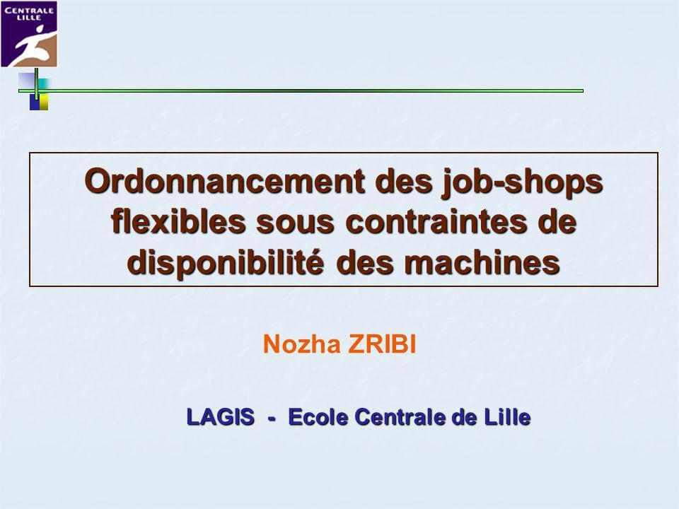 27 Janvier 2006Réunion Gotha2 Deux formulations Deux formulations Cadre de létude Job-shop flexible (1) O 1,1 O 1,2 O 1,3 O 2,1 O 2,2 O 3,1 O 3,2 M1 M2 M3 M4 Job1 Job2 Job3 MPM JSP FJSP p ijk Indisponibilité durant certaines périodes connues a priori Indisponibilité durant certaines périodes connues a priori