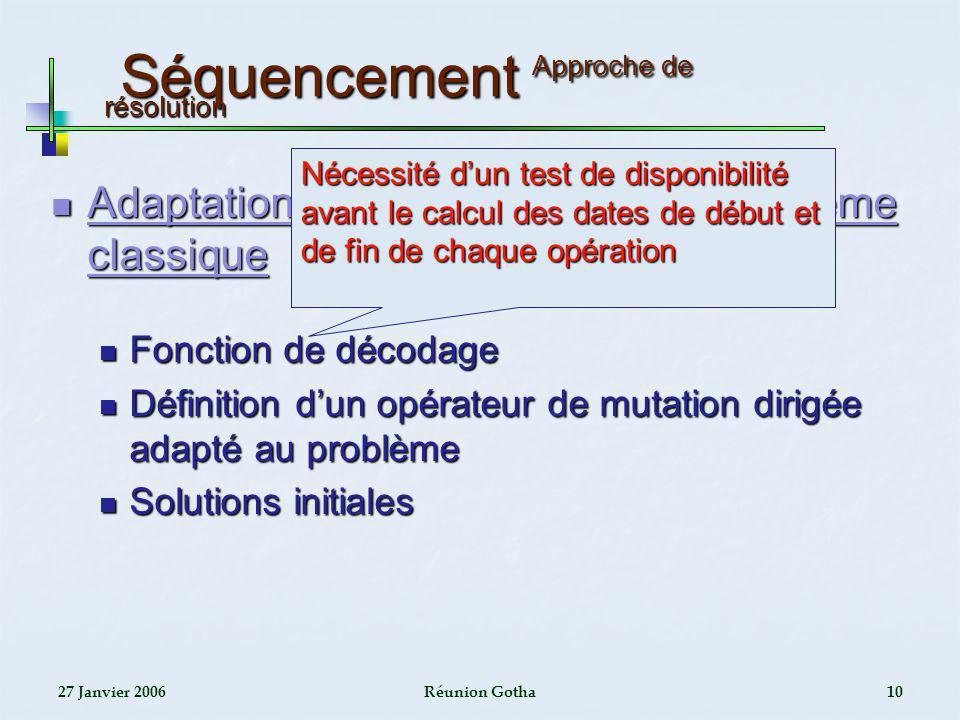 27 Janvier 2006Réunion Gotha10 Séquencement Approche de résolution Séquencement Approche de résolution Adaptation de lAG utilisé pour le problème clas