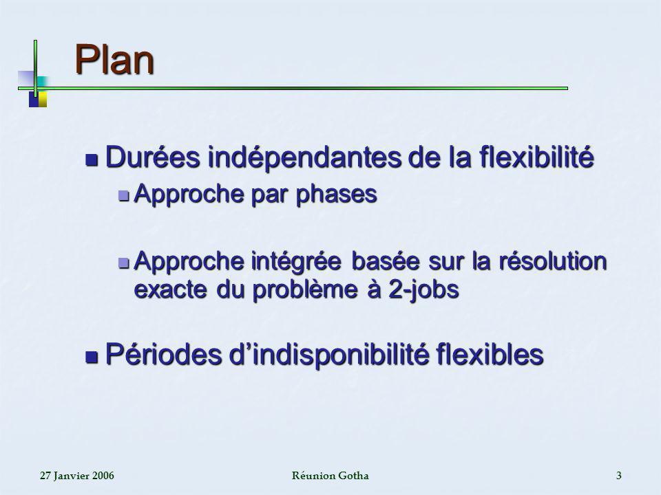27 Janvier 2006Réunion Gotha3 Plan Plan Durées indépendantes de la flexibilité Durées indépendantes de la flexibilité Approche par phases Approche par