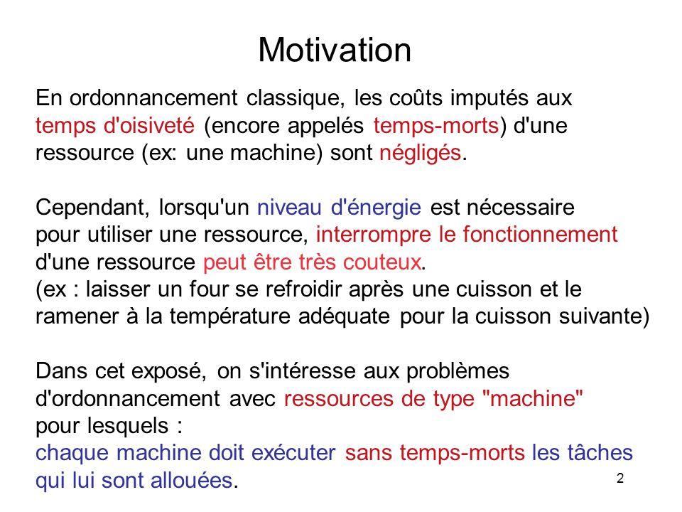 2 Motivation En ordonnancement classique, les coûts imputés aux temps d'oisiveté (encore appelés temps-morts) d'une ressource (ex: une machine) sont n