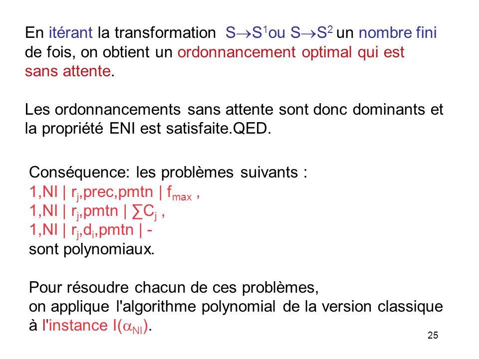 25 En itérant la transformation S S 1 ou S S 2 un nombre fini de fois, on obtient un ordonnancement optimal qui est sans attente. Les ordonnancements